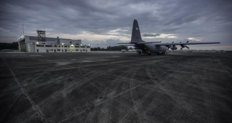 NASA's C-130 prepares to leave for its first science flight of the fall campaign. Researchers have integrated, tested and calibrated instruments that will help measure the impact the declining annual phase of plankton on the atmosphere. Credits: NASA/Patrick Black