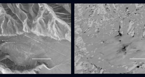 The hummingbird glyph and its surroundings in the Nasca world heritage site as seen by standard photography, left, and by NASA's UAVSAR instrument, right. Dark areas in the UAVSAR image are where the site has been disturbed.