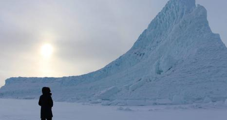 A close encounter with Greenland ice during a 2017 OMG field campaign. Credits: NASA